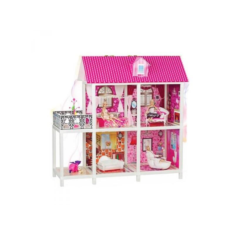 ДОМИК 66884 3 куклы, 2 этажа и мебель