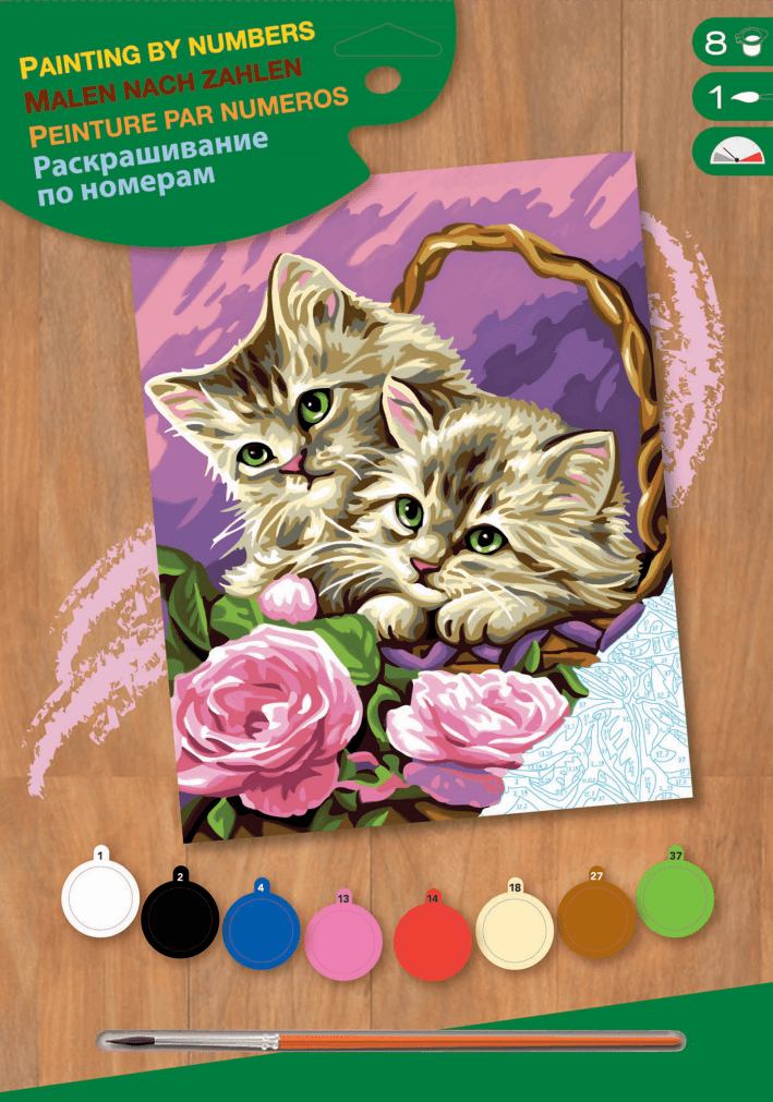 НАБОР ДЛЯ ТВОРЧЕСТВА SEQUIN ART PAINTING BY NUMBERS JUNIOR FLORAL KITTENS SA1041