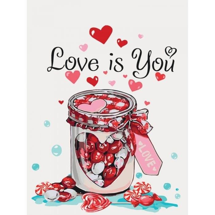 """КАРТИНА ПО НОМЕРАМ. НАТЮРМОРТ """"LOVE IS YOU"""" 30*40СМ * KHO5526"""