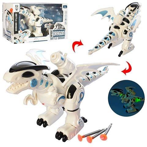 Динозавр 0830 34см, стреляет пулями, звук,свет, ходит, на бат-ке, в кор-ке, 35-20-13,5см