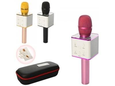Микрофон Q7  аккум,  25см, USB, Bluetooth, микс цветов, в футляре, 28-11,5-7см