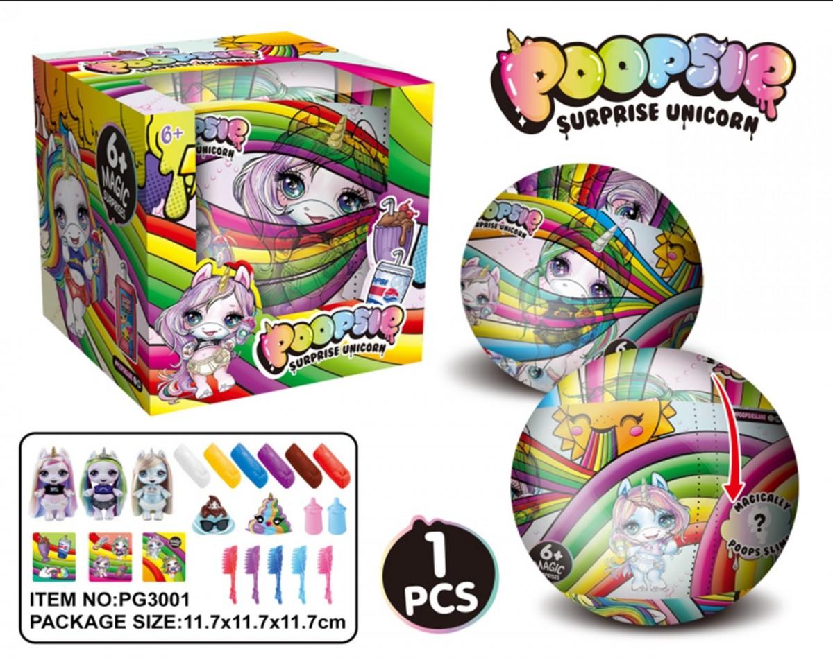 Игровой набор единорог POOPSIE в шаре, аксесс, пластилин, в кор. 11,7см