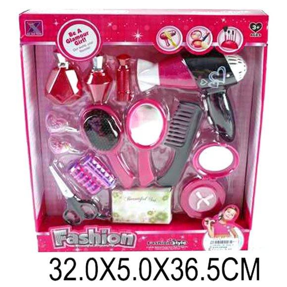Парикмахерский набор расческа,фен,зеркальце,бигуди,ножницы,аксес,в кор.32*37*5см
