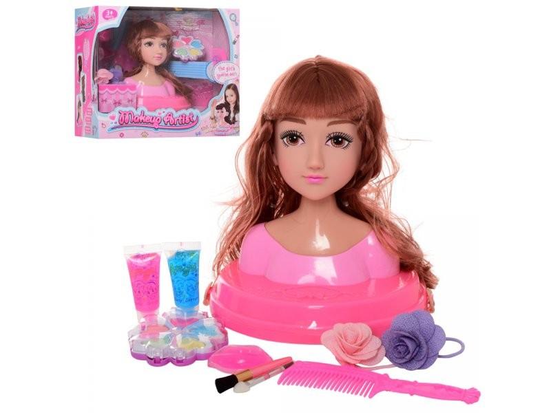 319-5 Кукла голова для причесок 19см, косметика, аксессуары,
