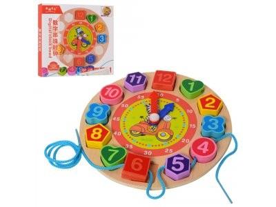 Деревянная игрушка Часы MD 1270 вставные цифры