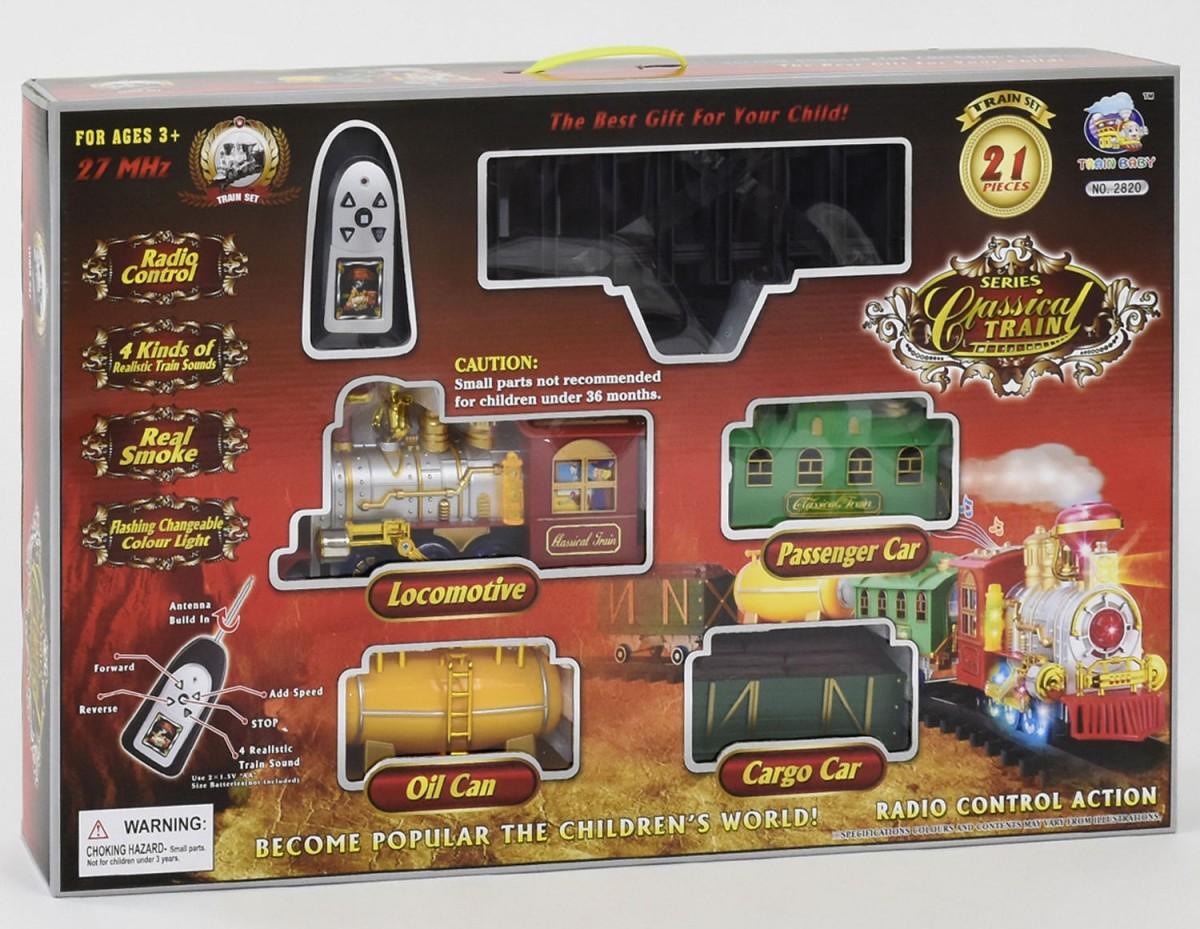 Железная дорога 2820  паровоз на р/у, свет, звук, дым,