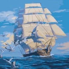 """Набір для розпису по номерах. Морський пейзаж """"На всіх вітрилах"""" 40*40см"""