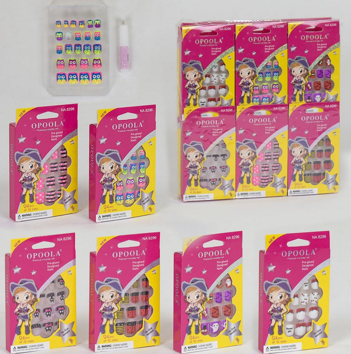 Набор детских накладных ногтей С 34479  с клеем, 24 шт.