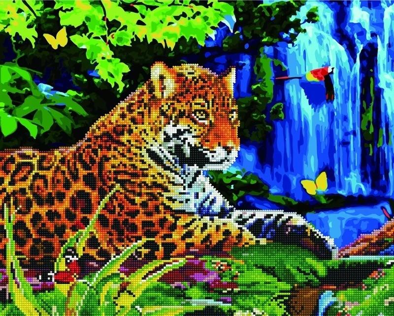 Алмазная картина-раскраска BRUSHME 40*50 Леопард у водопада