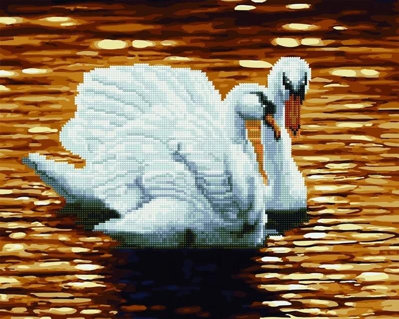 """Картина по номерам и алмазная мозаика 2 в 1. Rainbow Art """"Лебеди на закате"""" GZS1112-RA"""