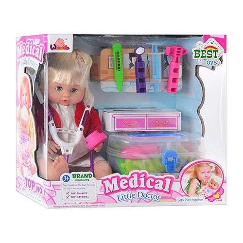 Пупс кукла с набором доктора в чемодане 1303 B